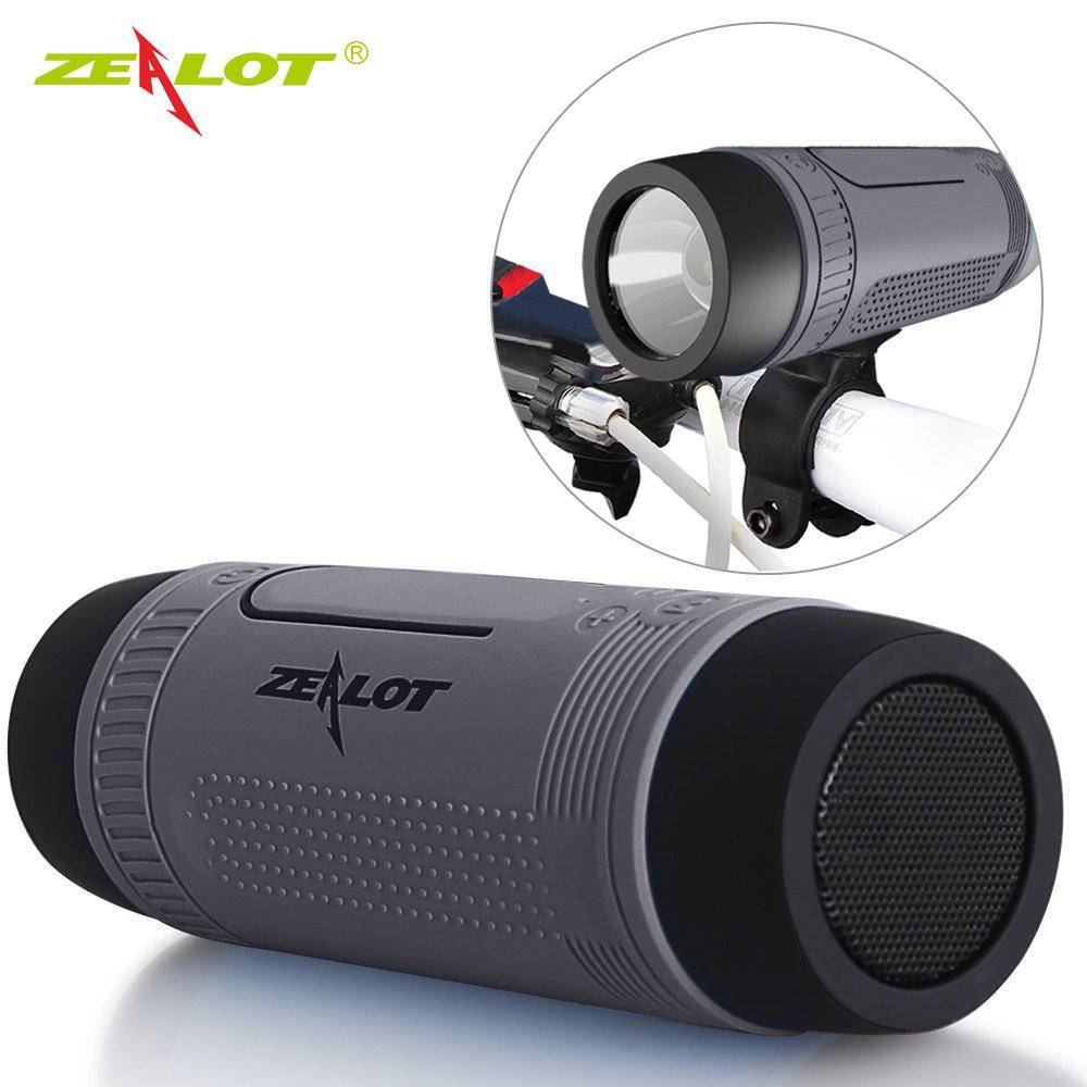 Колонка Zealot S1 портативная Bluetooth повербанк, фонарик (серая)