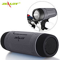 Колонка Zealot S1 портативная Bluetooth повербанк, фонарик (серая), фото 1