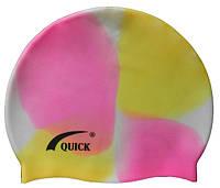 Детская силиконовая шапочка для плавания (розовый/жёлтый/белый цвет), фото 1
