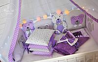 """Набір у ліжечко """"Фіолетово-сірі сни бортиків ведмедиків"""" 1687"""