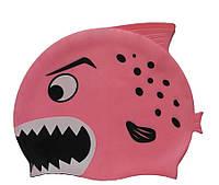 Дитяча шапочка для плавання рожевого кольору «Плавники», фото 1