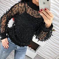 Стильная женская блузка шифон с лентами черный, белый, пудра