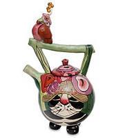 """Фарфоровый заварочный чайник """"Кот Кланси и птичка"""" (Pavone) BS-115, фото 1"""