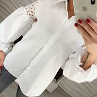 Стильная женская белая рубашка блузка котон с вышивкой ришелье