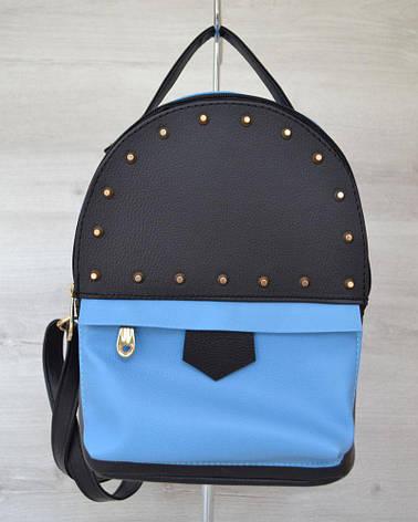 f7bf1ddccd0d Женский городской рюкзак сверху шипы черный c голубым из кожзама 43402