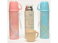 T144-1 ТЕРМОС 500 МЛ + ЧАШКА + ПОИЛКА, Компактный термос для напитков, Термос с чашкой, Термобутылка