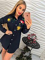 Женская удлиненная котоновая синяя рубашка с вышивкой тренд 2017 года