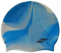 Шапочка для плавання «юніор» біло-блакитного кольору, фото 1