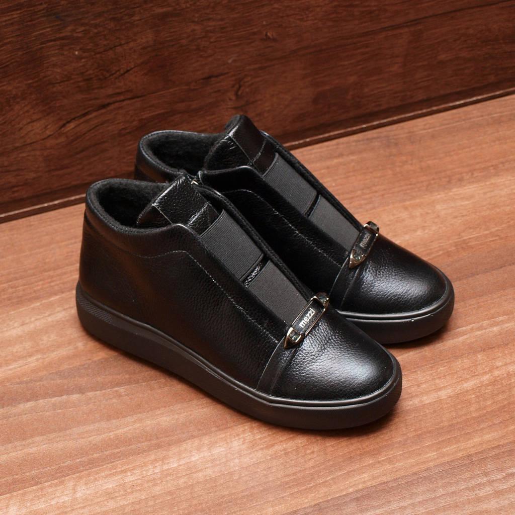 80041| Женские ботинки -демисезонные на низкой платформе. Черные из натуральной кожи