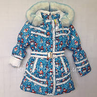 Пальто зимнее детское для девочек ''Снеговик'' голубое (3-6 лет)