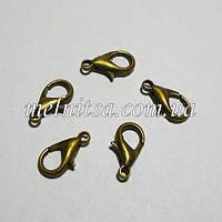 Застежка-карабин 14 мм, золото, 1 шт.
