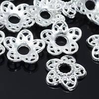 Шапочки для Бусин, метал. цветок 12*3мм серебро