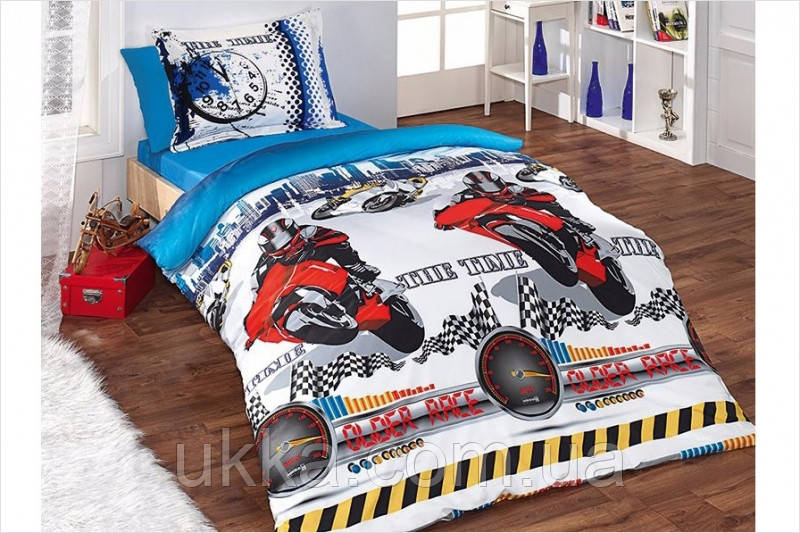 Детское постельное белье полуторное Мотоцикл комплект подростковый