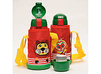 T144-4 ТЕРМОС 600 МЛ + 2 КРЫШКИ + ТРУБОЧКА + ЧАШКА + ЧЕХОЛ, Термос для детей, Термос для напитков, Поильник