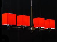 Люстра с красными абажурами (плафонами) 6012/4 С,D