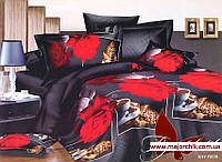 Комплект постельного белья 2-спальный евро Розы с кофе, фото 1