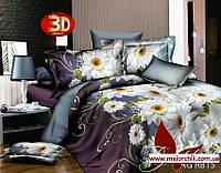 Комплект 3D постельного белья 2-спальный евро Хризантема