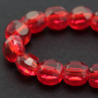 Бусины стеклянные круглые плоские, прозрачные, граненые, Красный, 6*4мм
