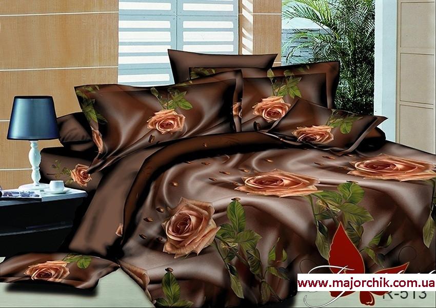 Комплект 3D постельного белья 2-спальный евро Розы в шоколаде