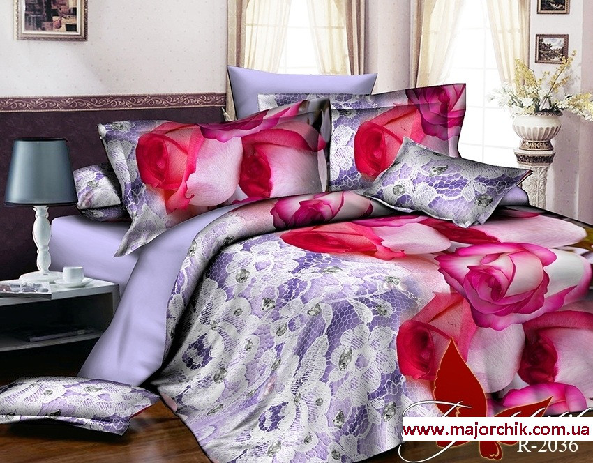 Комплект 3D постельного белья 2-спальный евро Розовые Розы