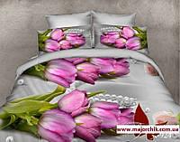 Комплект 3D постельного белья 2-спальный евро Тюльпан и жемчуг