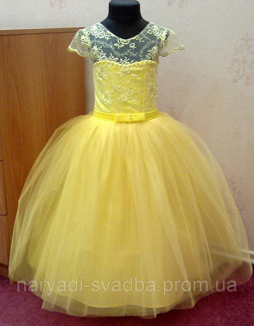 8253f7a9755 Необычное Солнечно-желтое Нарядное Детское Платье Из Гипюра на 4-6 ...