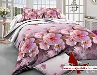 Комплект 3D постельного белья 2-спальный евро Цвет вишни