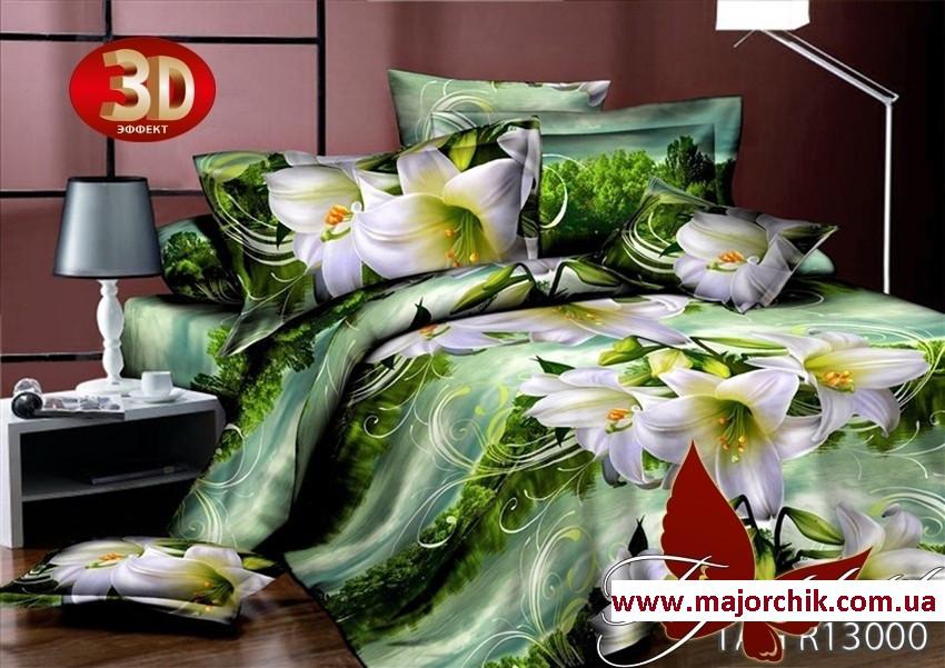 Комплект 3D постельного белья 2-спальный евро Лилии