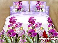 Комплект 3D постельного белья 2-спальный евро Орхидея