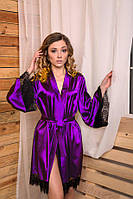Женский домашний халат с кружевом Ultraviolet