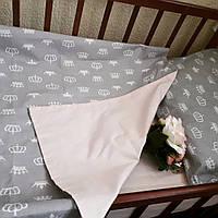 Розово-серый комплект постельного белья в кроватку, фото 1