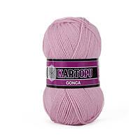 Турецкая  пряжа для вязания KARTOPU GONCA ( ГОНКА)  акрил 763 розово-сиреневый