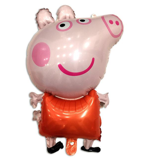 Фольгированный шар - фигура Свинка Пеппа красная 80 х 50 см
