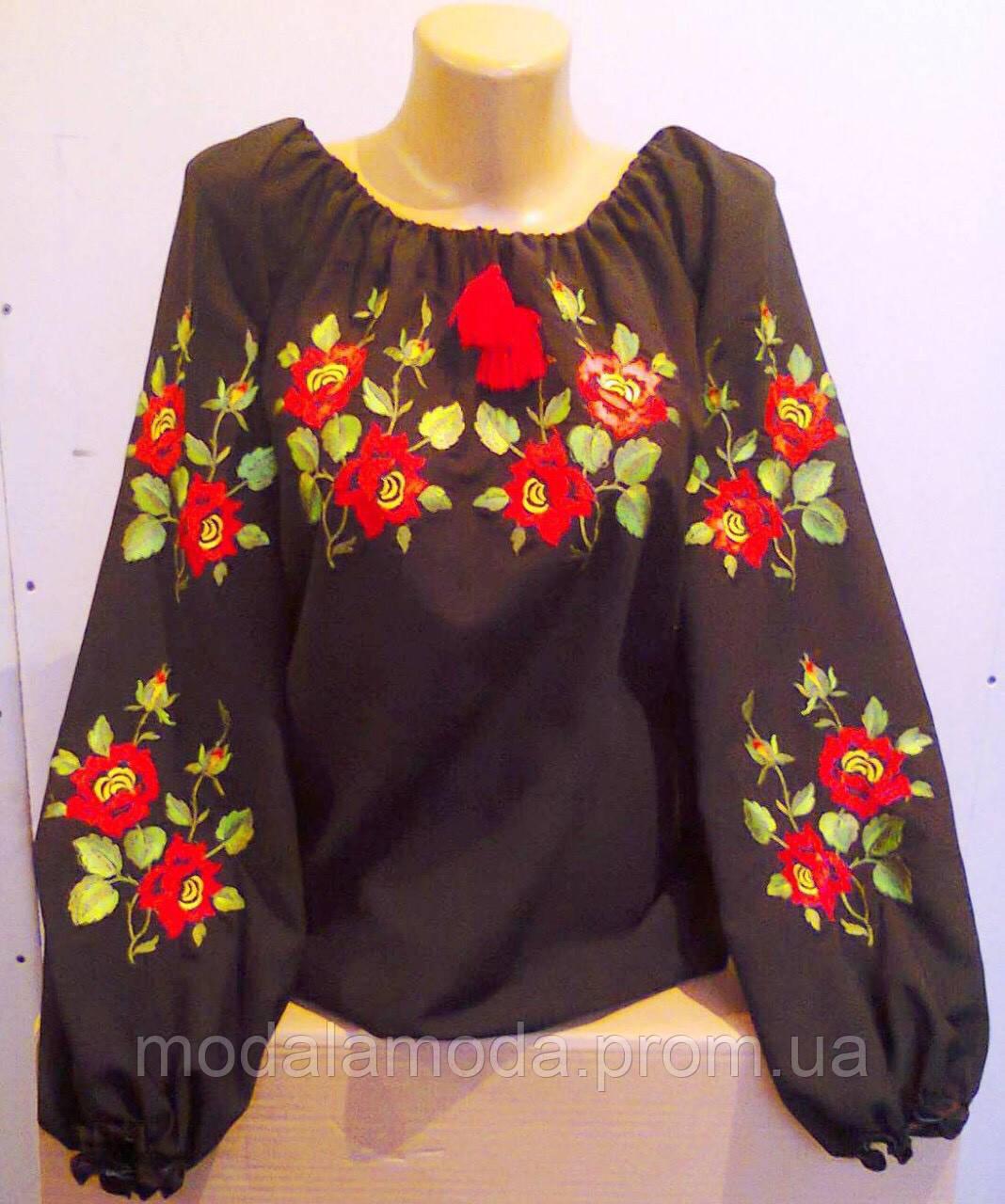 8130a4e2c9d Стильная красивая черная женская вышиванка с цветочным узором