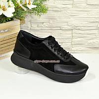 Туфли-кроссовки женские на утолщенной подошве, натуральная кожа и замша