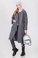Женское пальто с капюшоном  код1435  серый