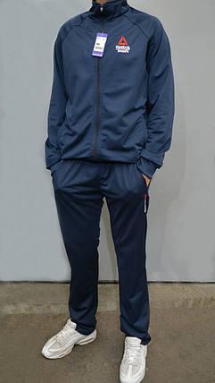 Размеры: 46,48,50. Мужской спортивный костюм Reebok Crossfit (Рибок) | Турция, Трикотаж лакост - темно синий, фото 2