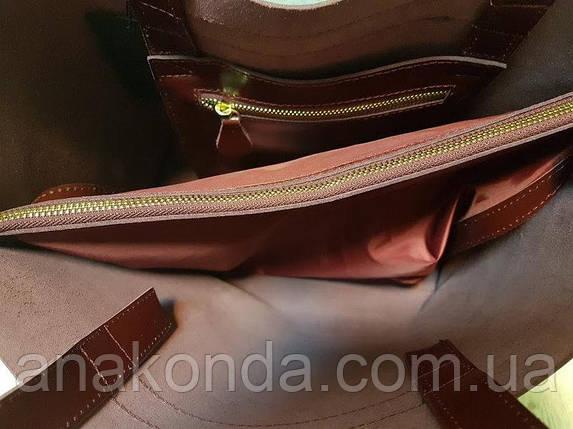 242 Сумка-шоппер женская натуральная кожа, марсала , фото 2
