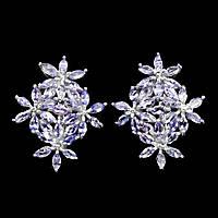 Серьги танзанит натуральный огранка маркиз серебро 925 Цветы.
