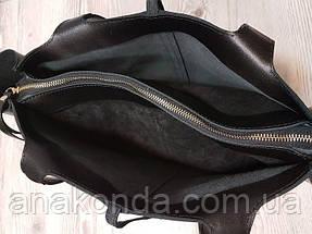 261 Сумка-шоппер женская натуральная кожа, черный, фото 3