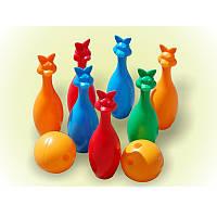 Кегли 7шт+2шара зайцы арт. 024, детские кегли для боулинг, шар для боулинга