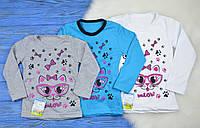 """Детская футболка с длинным рукавом """"Котик в очках"""" для девочек"""
