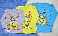 """Детская футболка с длинным рукавом """"Smile"""" для девочек"""