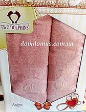 "Подарочный набор полотенец ""Asiya"" (баня+лицо) TWO DOLPHINS, Турция 0192"
