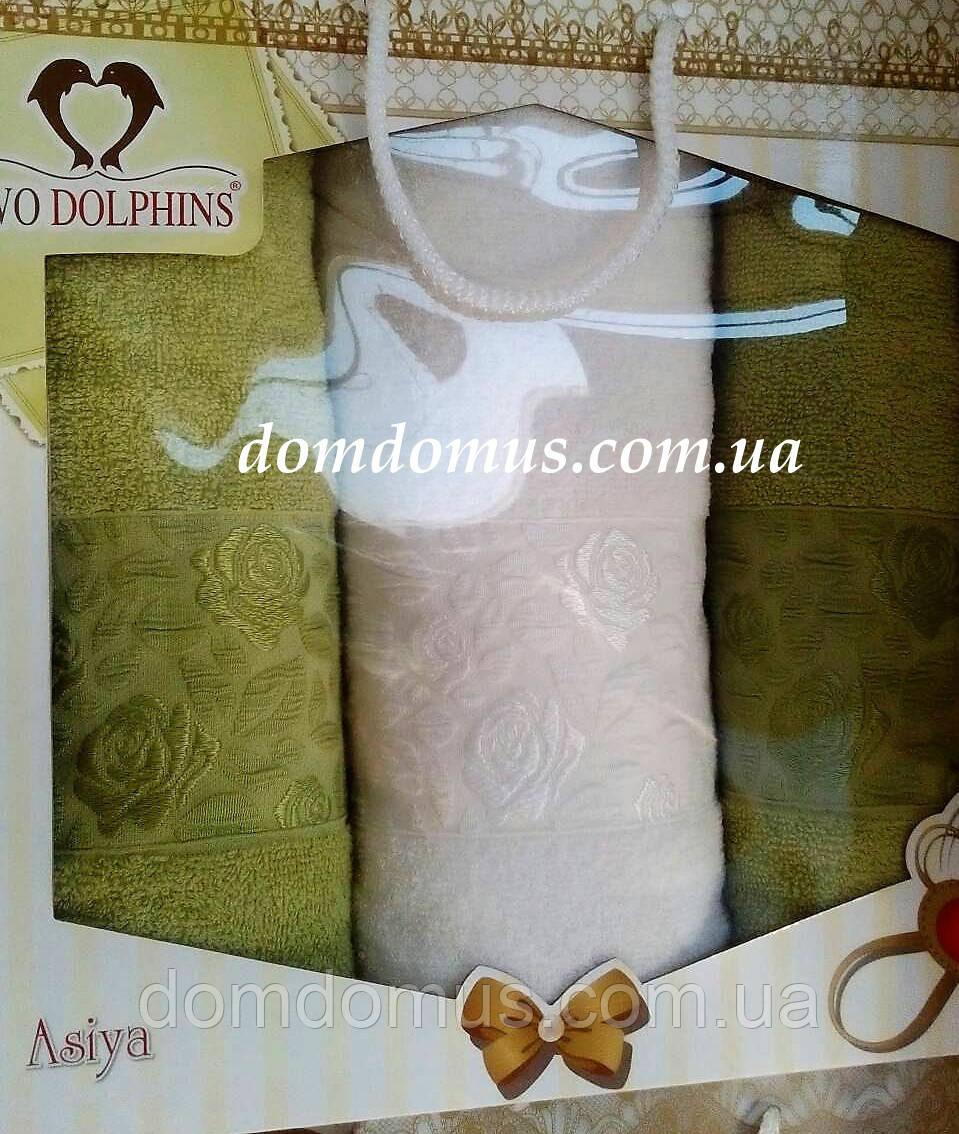 "Подарочный набор полотенец ""Asiya"" (баня 1 шт., лицо 2 шт.) "" TWO DOLPHINS, Турция 0193"