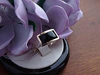 Срібне кільце з золотою платівкою і Оніксом, фото 1