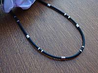 Каучуковая цепь с серебряным декором, фото 1