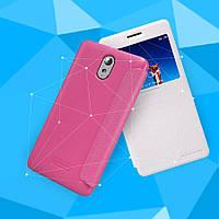 Кожаный чехол (книжка) Nillkin Sparkle Series для Lenovo Vibe P1m Розовый