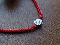 Червона нитка з срібним замком і декором, фото 1