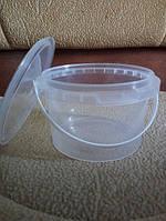 Ведро 0,5 л из пищевого пластика круглое с крышкой (прозрачное) LP-5011